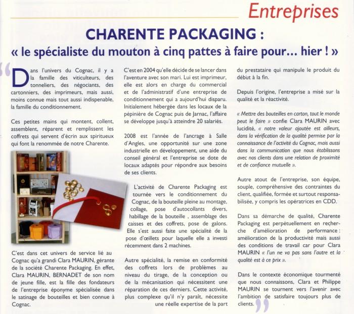 Parution de Charente Packaging spécialiste de l'emballage Cognac dans Entreprise Charente